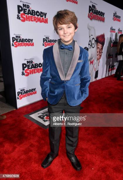 Actor Max Charles attends the premiere of Twentieth Century Fox and DreamWorks Animation's 'Mr Peabody Sherman' at Regency Village Theatre on March 5...