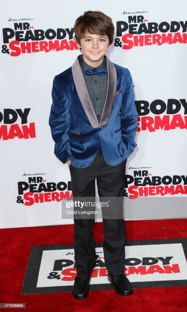 Actor Max Charles attends the premiere of Twentieth Century Fox and DreamWorks Animation's 'Mr Peabody Sherman' at the Regency Village Theatre on...