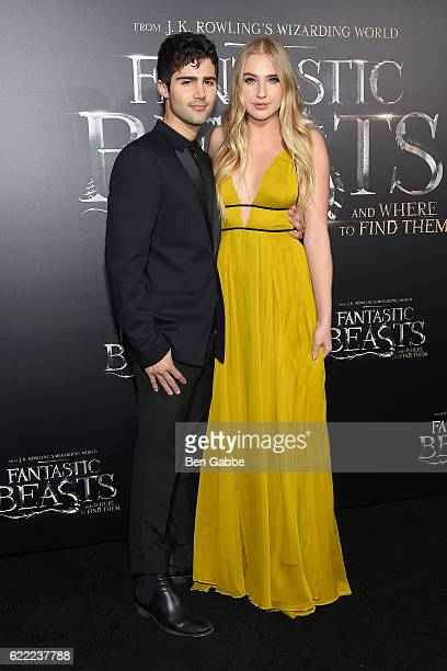 Actor Max Ehrich and actress Veronica Dunne attend the 'Fantastic Beasts And Where To Find Them' World Premiere at Alice Tully Hall Lincoln Center on...