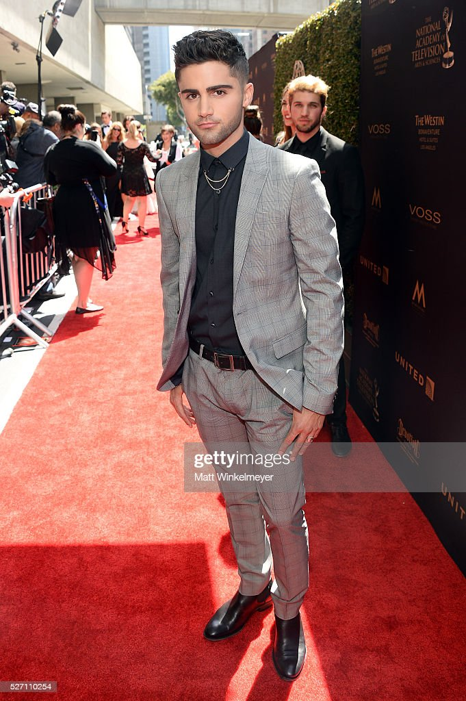 Actor Max Ehrich arrives at the 43rd Annual Daytime Emmy Awards at the Westin Bonaventure Hotel on May 1, 2016 in Los Angeles, California.