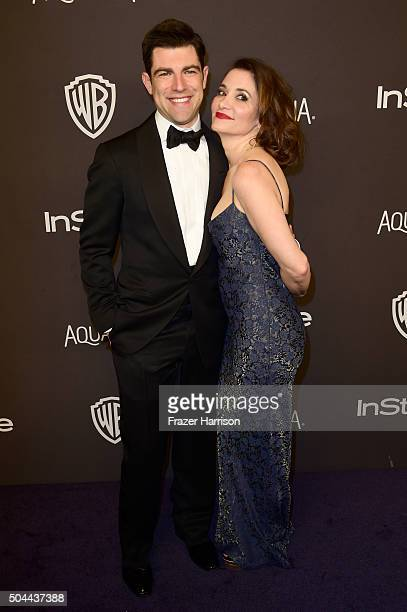 Actor Max Greenfield and Tess Sanchez attend InStyle and Warner Bros 73rd Annual Golden Globe Awards PostParty at The Beverly Hilton Hotel on January...