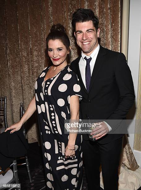 Actor Max Greenfield and Tess Sanchez attend the Family Equality Council's 2015 Los Angeles Awards dinner at The Beverly Hilton Hotel on February 28...
