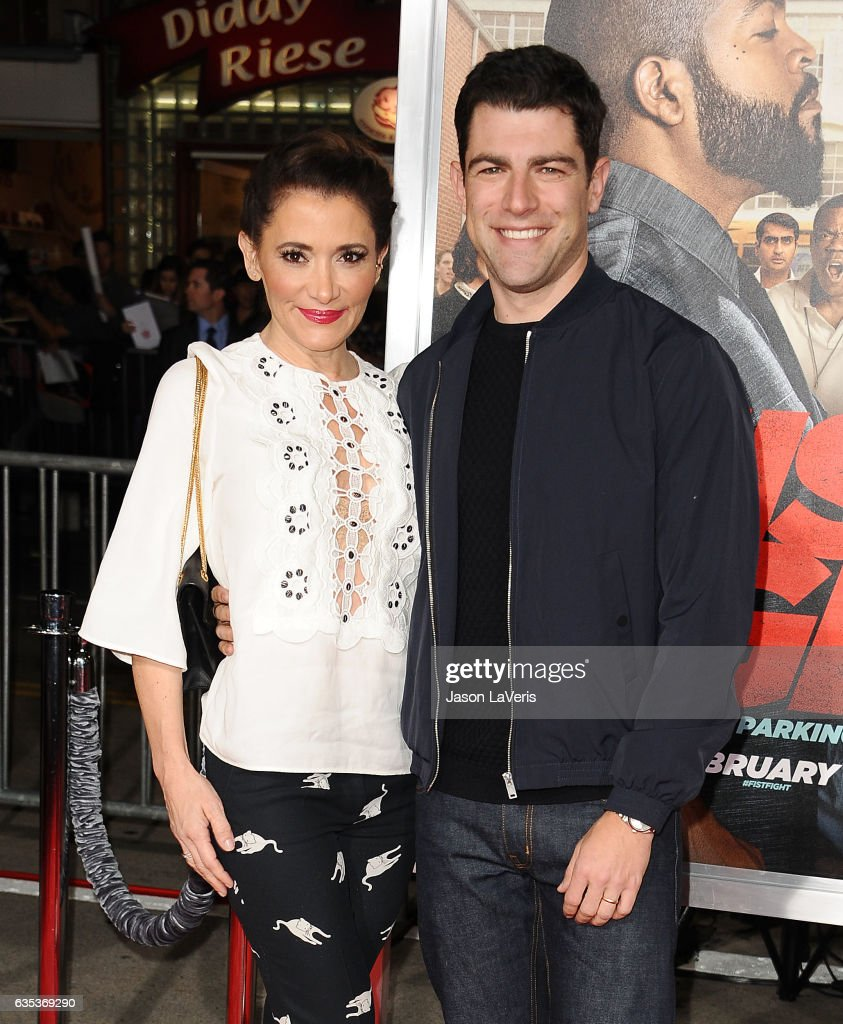 Actor Max Greenfield and wife Tess Sanchez attend the premiere of 'Fist Fight' at Regency Village Theatre on February 13, 2017 in Westwood, California.