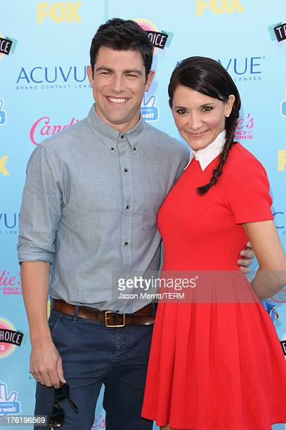 Actor Max Greenfield and wife Tess Sanchez attend the Teen Choice Awards 2013 at Gibson Amphitheatre on August 11 2013 in Universal City California