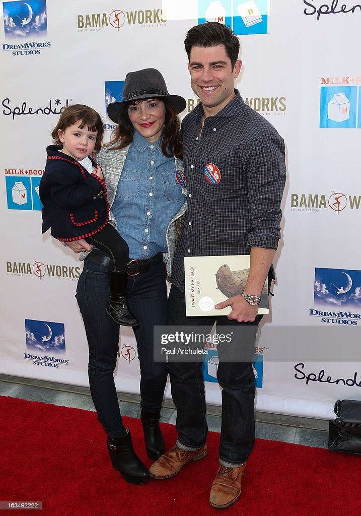 Actor <a gi-track='captionPersonalityLinkClicked' href=/galleries/search?phrase=Max+Greenfield&family=editorial&specificpeople=599135 ng-click='$event.stopPropagation()'>Max Greenfield</a> (R) attends the 4th annual Milk+Bookies story time celebration at The Skirball Cultural Center on March 10, 2013 in Los Angeles, California.