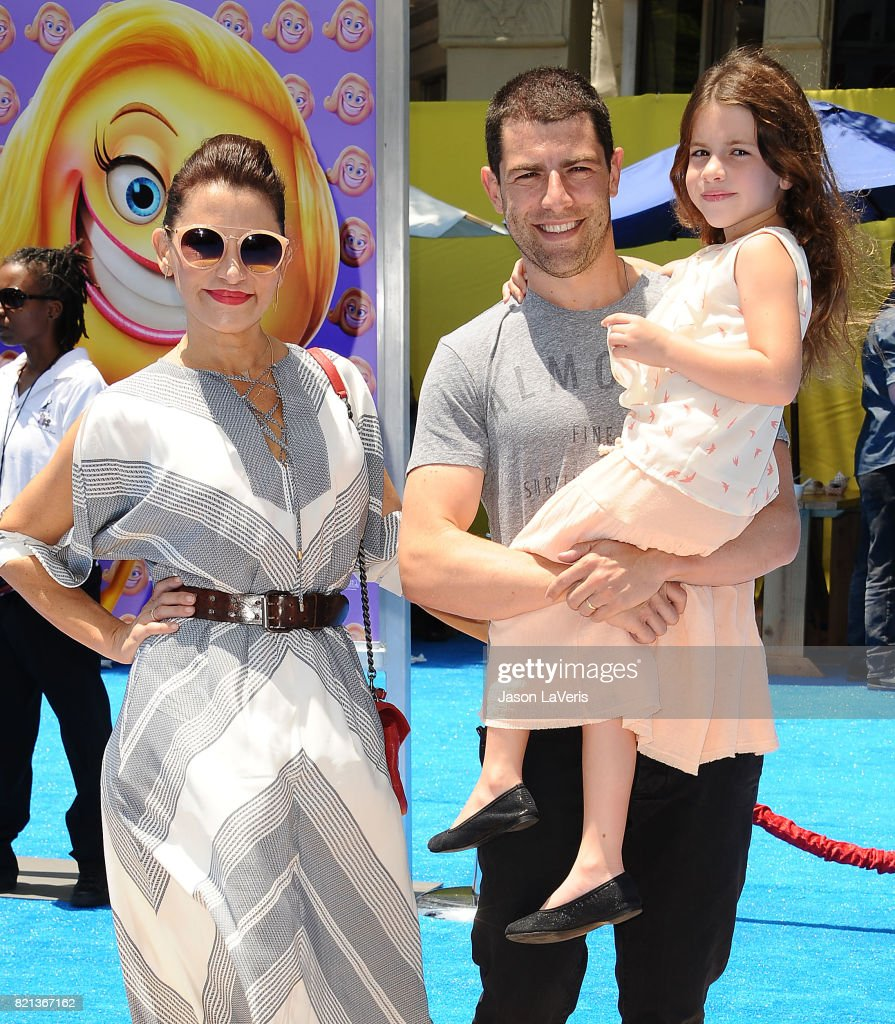 Actor Max Greenfield, wife Tess Sanchez and daughter Lilly Greenfield attend the premiere of 'The Emoji Movie' at Regency Village Theatre on July 23, 2017 in Westwood, California.