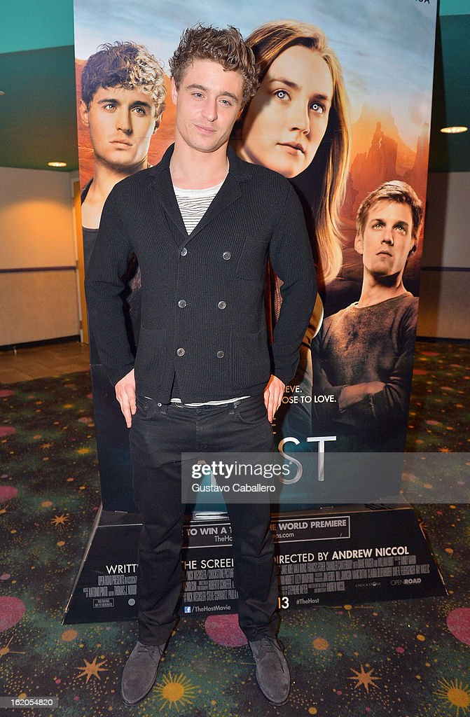 Actor <a gi-track='captionPersonalityLinkClicked' href=/galleries/search?phrase=Max+Irons&family=editorial&specificpeople=762929 ng-click='$event.stopPropagation()'>Max Irons</a> attends 'The Host' Miami Q&A Screening at AMC Sunset Place on February 18, 2013 in Miami, Florida.