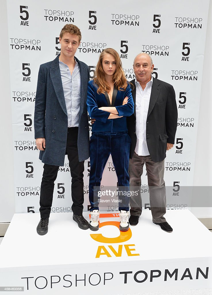 Actor Max Irons, model Cara Delevingne and Sir Philip Green attend the Topshop Topman New York City flagship grand opening at Topshop Topman Flagship Store on November 5, 2014 in New York City.