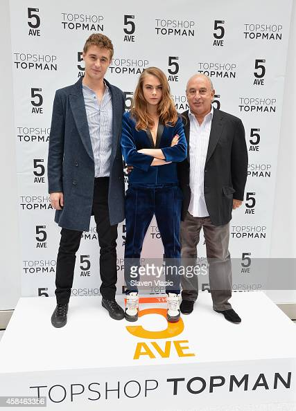Actor Max Irons model Cara Delevingne and Sir Philip Green attend the Topshop Topman New York City flagship grand opening at Topshop Topman Flagship...