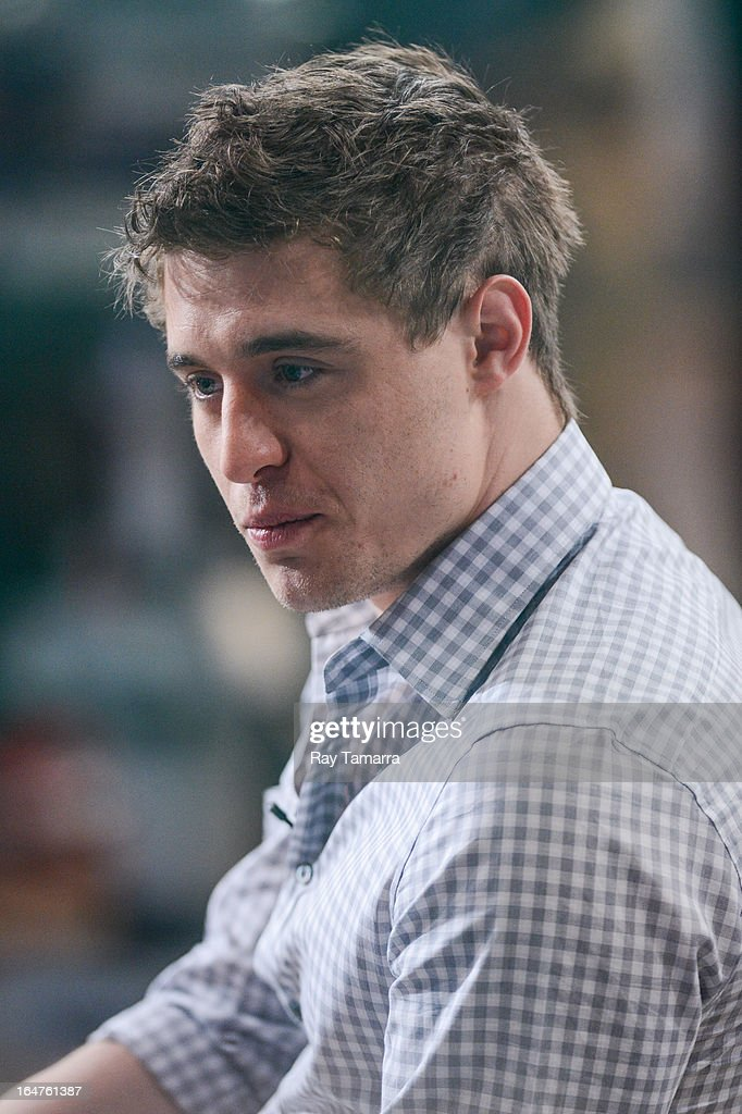 Actor Max Irons tapes an interview at 'Good Morning America' at the ABC Times Square Studios on March 27, 2013 in New York City.