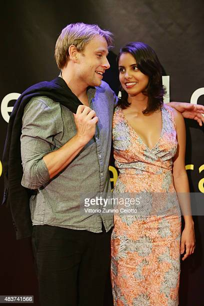 Actor Max Riemelt and guest attend Amnesia red carpet on August 12 2015 in Locarno Switzerland