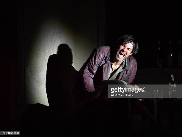 Actor Max Simonischek performs in the rehearsal of Harold Pinter's 'Die Geburtstagsfeier' in Salzburg on July 25 2017 during the 2017 Salzburg...
