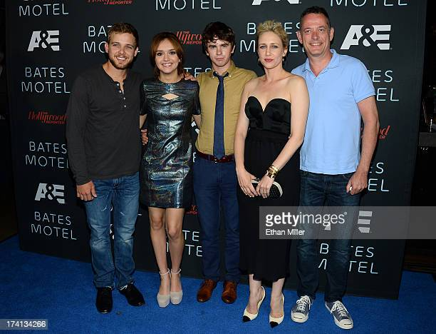 Actor Max Thieriot actress Olivia Cooke actor Freddie Highmore actress Vera Farmiga and AE Executive Vice President David McKillop attend AE's 'Bates...