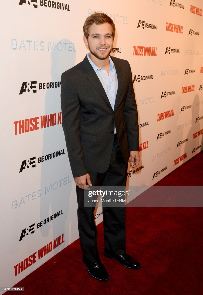 Actor <a gi-track='captionPersonalityLinkClicked' href=/galleries/search?phrase=Max+Thieriot&family=editorial&specificpeople=2545974 ng-click='$event.stopPropagation()'>Max Thieriot</a> attends A&E's 'Bates Motel' and 'Those Who Kill' Premiere Party at Warwick on February 26, 2014 in Hollywood, California.