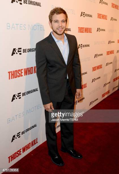 Actor Max Thieriot attends AE's 'Bates Motel' and 'Those Who Kill' Premiere Party at Warwick on February 26 2014 in Hollywood California