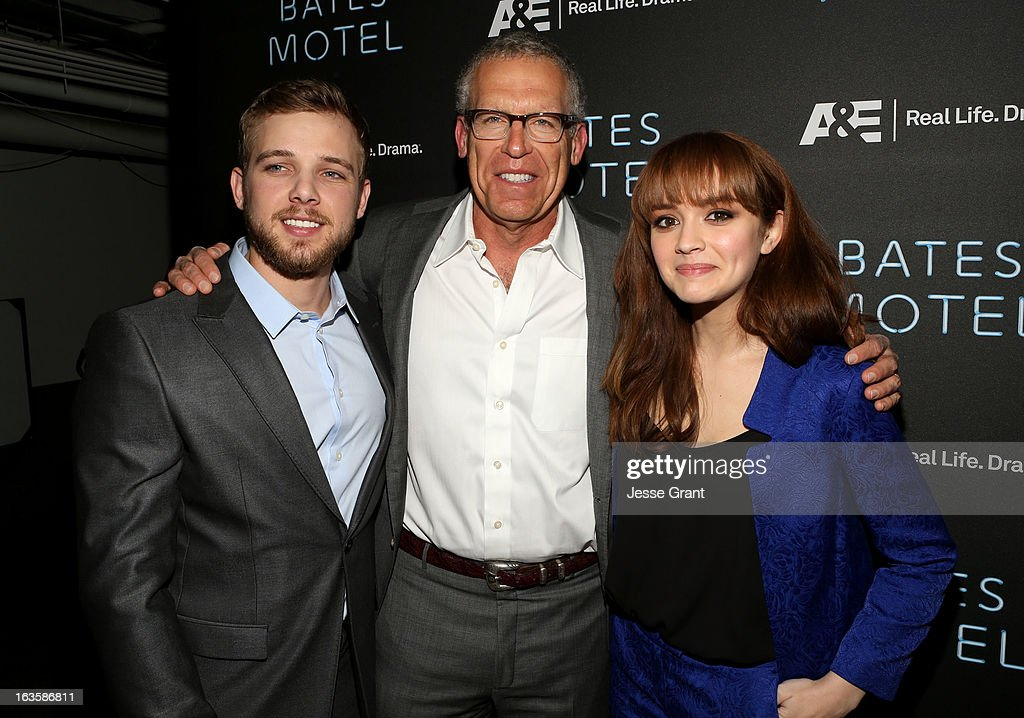 Actor Max Thieriot, executive producer Carlton Cuse and actress Olivia Cooke attend A&E's 'Bates Motel' Premiere Party on March 12, 2013 in West Hollywood, California.