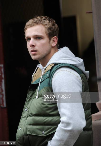 Actor Max Thieriot filming on location for the 'Untitled Roland Emmerich Project' on March 16 2012 in New York City
