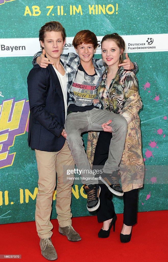 Actor Max von der Groeben, Jonas Holdenrieder and Jella Haase attends the premiere of the film 'Fack Ju Goehte' on October 29, 2013 in Munich, Germany.