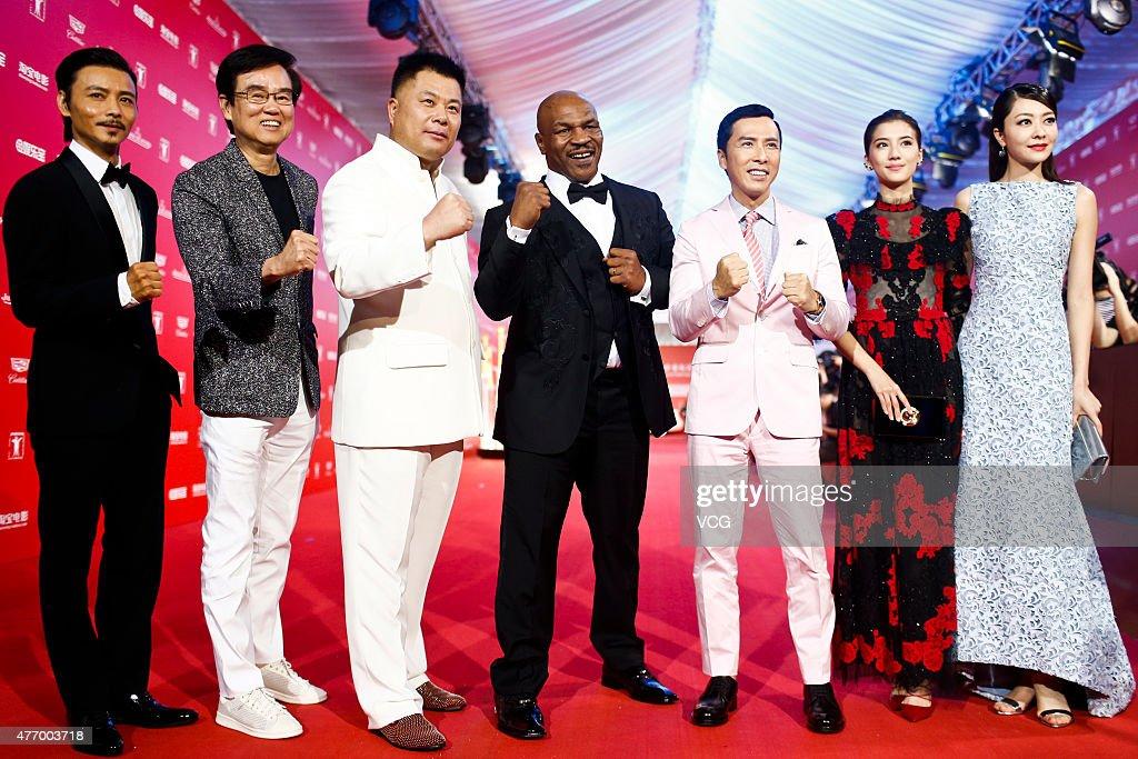 Actor Max Zhang producer BakMing Wong producer Shi Jianxiang Mike Tyson actor Donnie Yen actress Karena Ng and actress Lynn Xiong arrive at the red...