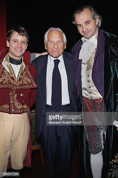 Actor Maxime d'Aboville Academician Jean d'Ormesson and actor Alain Pochet attend 'La Conversation' By Jean D'Ormesson at Theatre Hebertot on October...