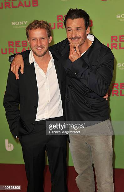 Actor Maximilian Brueckner and Stephan Luca attend Germany Premiere 'Resturlaub' at the Mathaeser Filmpalast on August 8 2011 in Munich Germany