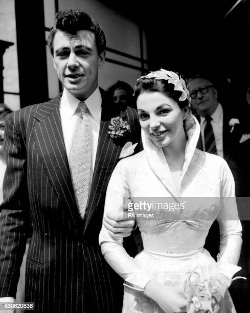 Actor Maxwell Reed and his bride actress Joan Collins after their wedding at Caxton Hall Register Office London * 17/2/02 Ms Collins will be walking...