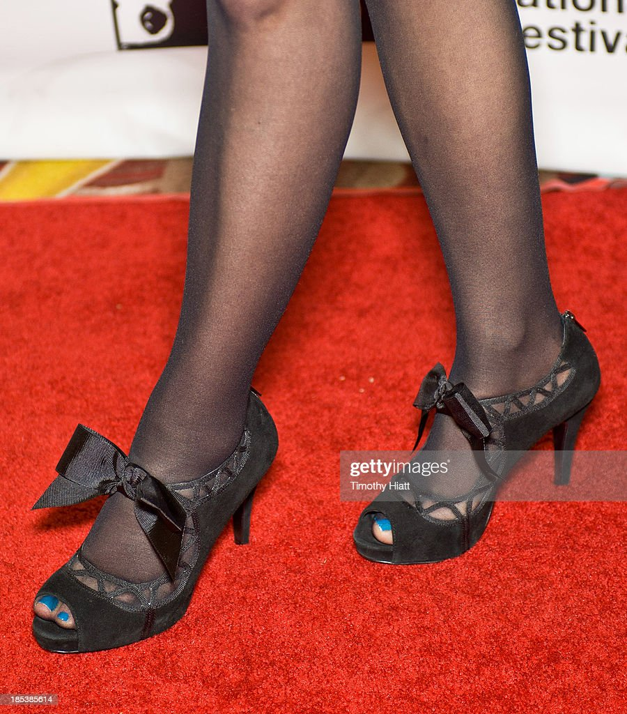 Actor Meadow Williams (shoe detail) attends the 'The Harvest' premiere at AMC River East Theater on October 19, 2013 in Chicago, Illinois.