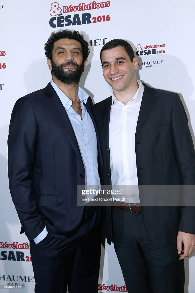 Actor Mehdi Djaadi, nominated for 'Je suis a vous tout de suite', (R) and his sponsor Ramzy Bedia (L) attend the 'Cesar - Revelations 2016' Photocall at Chaumet, followed by a dinner at Hotel Meurice on January 11, 2016 in Paris, France.