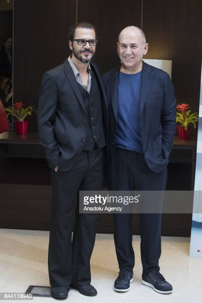 Actor Mehmet Gunsur and director Ferzan Ozpetek attend the photocall of the movie 'Rosso Istanbul' at the NH Collection Hotel in Rome Italy on...