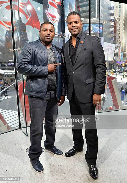 Actor Mekhi Phifer talks to host AJ Calloway at 'Extra' at HM Times Square on April 8 2016 in New York City