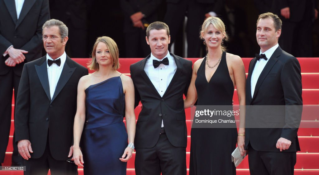 Actor Mel Gibson actress Jodie Foster writer Kyle Killen with his wife Laura Allen and producer Keith Redmon attend 'The Beaver' Premiere during the...
