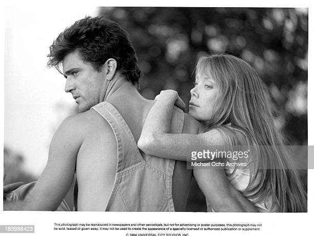 Actor Mel Gibson and actress Sissy Spacek on set of the Universal Pictures movie 'The River' in 1984