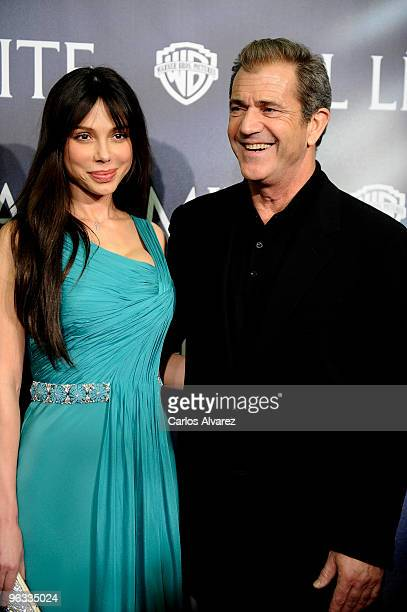 Actor Mel Gibson and girlfriend Oksana Grigorieva attend 'Edge of the Darkness' premiere at the Palafox cinema on February 1 2010 in Madrid Spain