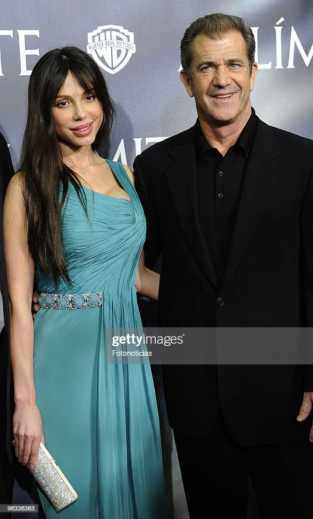 Actor Mel Gibson and Oksana Grigorieva attend the premiere of 'Edge of the Darkness' at Palafox cinema on February 1 2010 in Madrid Spain
