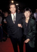 Actor Mel Gibson and wife Robyn Moore attend the 'Hamlet' Westwood Premiere on December 18 1990 at Mann Village Theatre in Westwood California