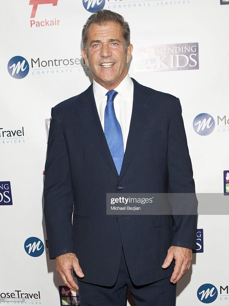 Actor Mel Gibson arrives at Mending Kids International Wings Around The World Gala at Santa Monica Airport on November 8 2014 in Santa Monica...