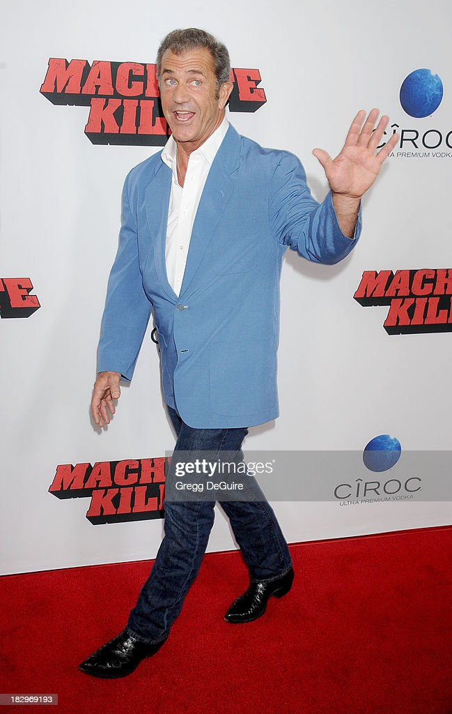Actor Mel Gibson arrives at the Los Angeles premiere of 'Machete Kills' at Regal Cinemas L.A. Live on October 2, 2013 in Los Angeles, California.