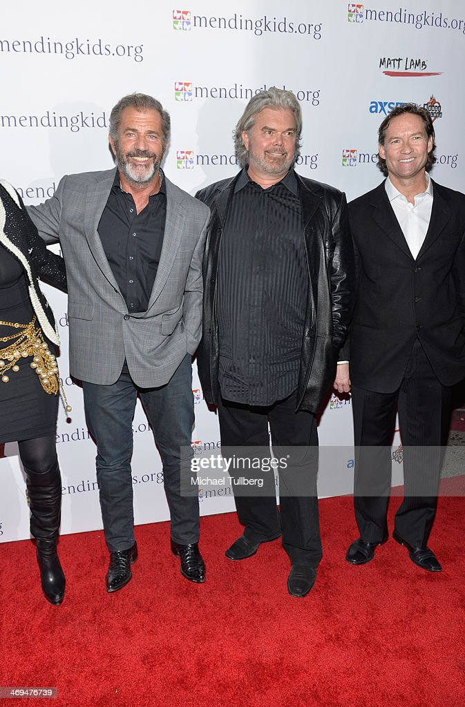 Actor <a gi-track='captionPersonalityLinkClicked' href=/galleries/search?phrase=Mel+Gibson&family=editorial&specificpeople=201512 ng-click='$event.stopPropagation()'>Mel Gibson</a>, host Brad Hillstrom and doctor Blake Johnson attend the Mending Kids International's 'Rock & Roll All-Stars' Fundraising Event on February 14, 2014 in Hollywood, California.
