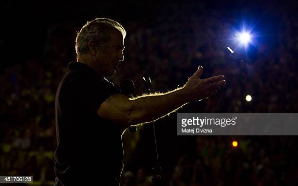 Actor Mel Gibson puts on outdoor screening of 'Mad Max' film during the 49th Karlovy Vary International Film Festival on July 4 2014 in Karlovy Vary...