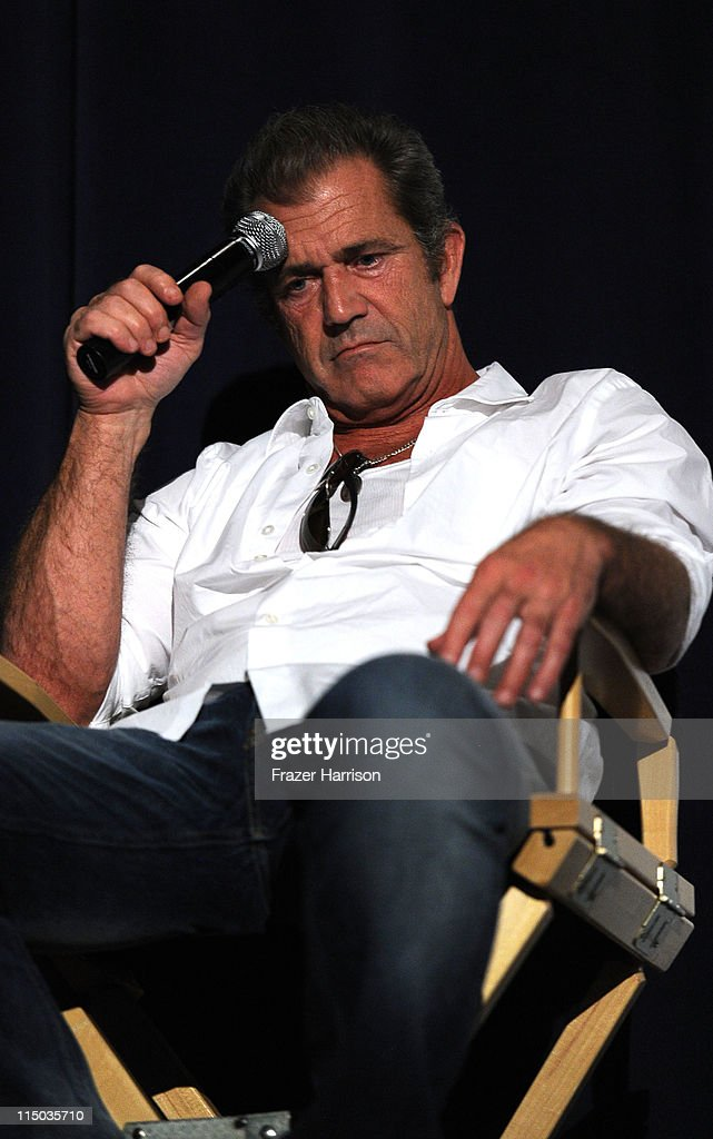 Actor Mel Gibson speaks at the Q+A at the Australians In Film screening of 'The Beaver' at the Harmony Gold Theate on June 1, 2011 in Los Angeles, California.