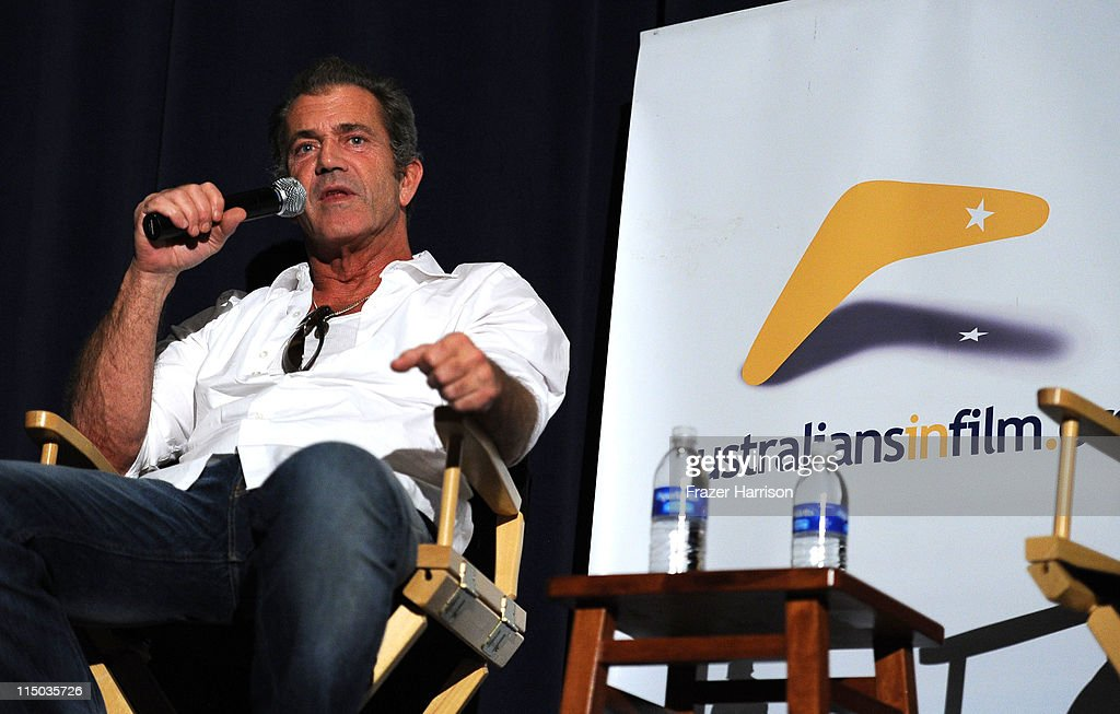Actor <a gi-track='captionPersonalityLinkClicked' href=/galleries/search?phrase=Mel+Gibson&family=editorial&specificpeople=201512 ng-click='$event.stopPropagation()'>Mel Gibson</a> speaks at the Q+A at the Australians In Film screening of 'The Beaver' at the Harmony Gold Theate on June 1, 2011 in Los Angeles, California.