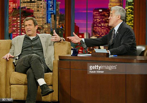 Actor Mel Gibson talks about his new movie 'Passion of Christ' with Jay Leno at the Tonight Show with Jay Leno at NBC Studios on February 26 2004 in...
