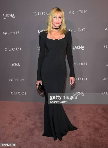 Actor Melanie Griffith attends the 2017 LACMA Art Film Gala Honoring Mark Bradford And George Lucas at LACMA on November 4 2017 in Los Angeles...