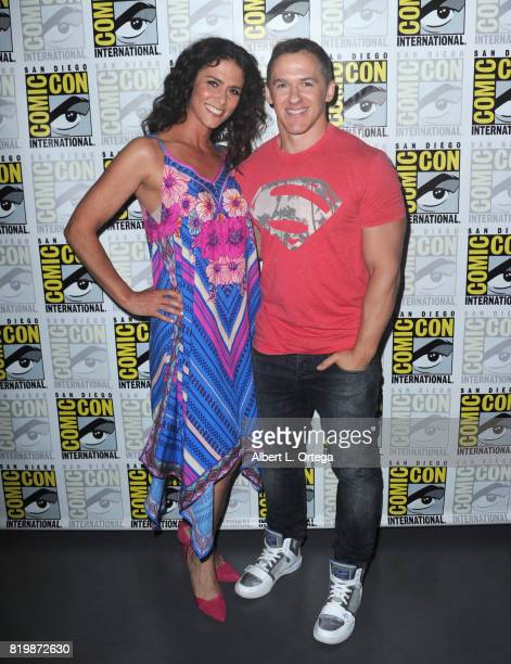 Actor Melissa Ponzio and executive producer Jeff Davis pose backstage during the 'Teen Wolf' panel during ComicCon International 2017 at San Diego...