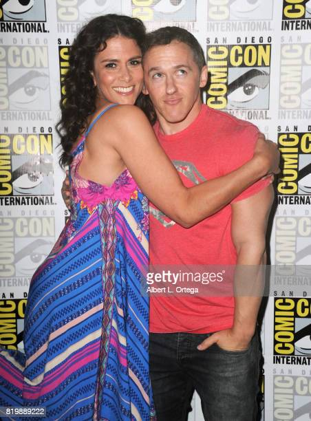 Actor Melissa Ponzio and executive producer Jeff Davis pose backstage at the 'Teen Wolf' panel during ComicCon International 2017 at San Diego...