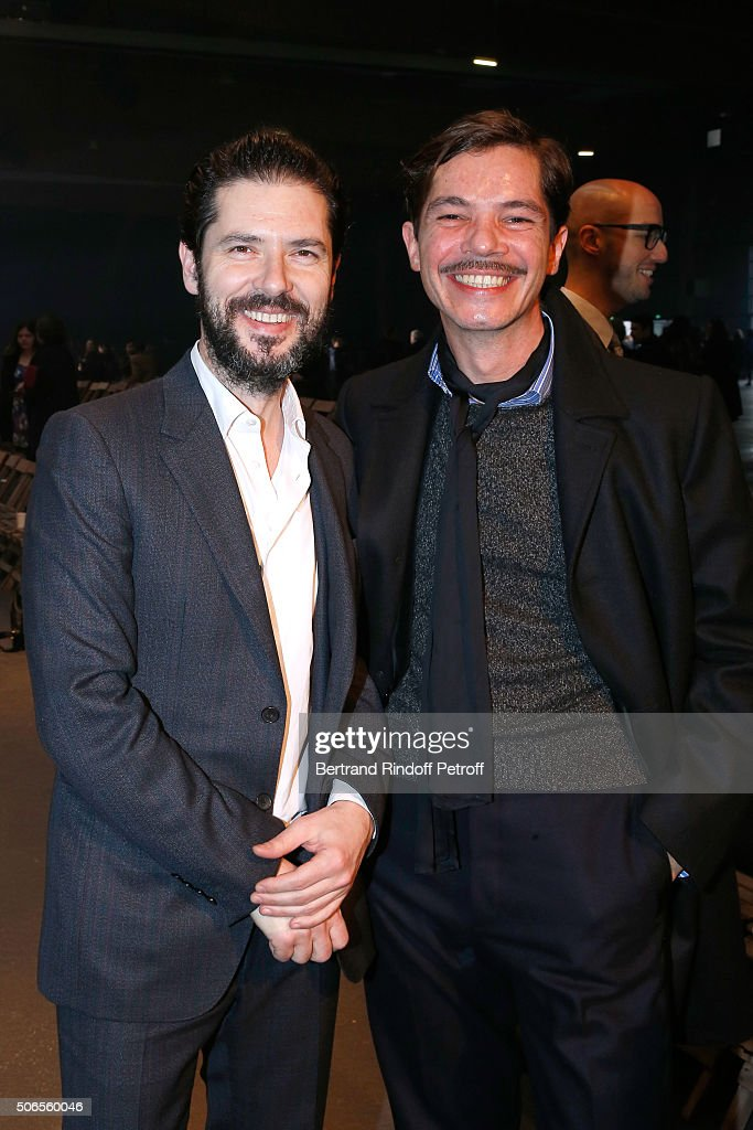 Actor Melvil Poupaud and Elie Top attend the Lanvin Menswear Fall/Winter 2016-2017 show as part of Paris Fashion Week on January 24, 2016 in Paris, France.