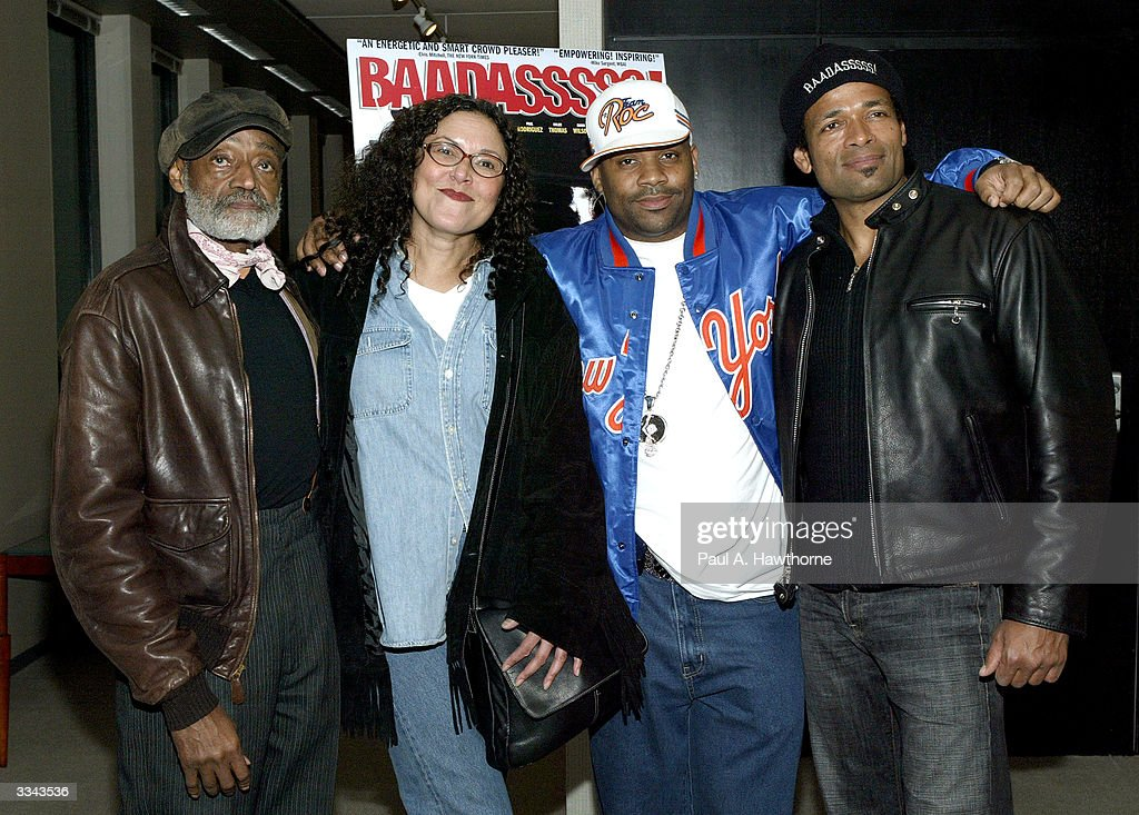 Actor Melvin Van Peebles, Actress Lonette McKee, CEO of Roc-A-Fella Records/Rocawear Damon Dash and actor/director Mario Van Peebles attend a viewing of 'Baadasssss!' at the Sony Screening Room, April 12, 2004 in New York City.