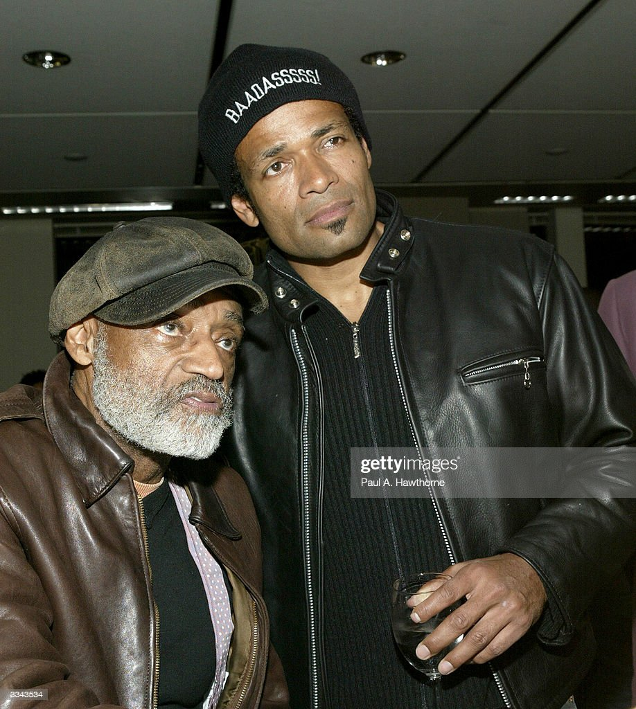 Actor Melvin Van Peebles with his son actor/director Mario Van Peebles attend a viewing of 'Baadasssss!' at the Sony Screening Room, April 12, 2004 in New York City.