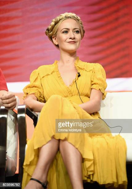 Actor Meredith Hagner of 'Search Party' speaks onstage during the TCA Turner Summer Press Tour 2017 Presentation at The Beverly Hilton Hotel on July...