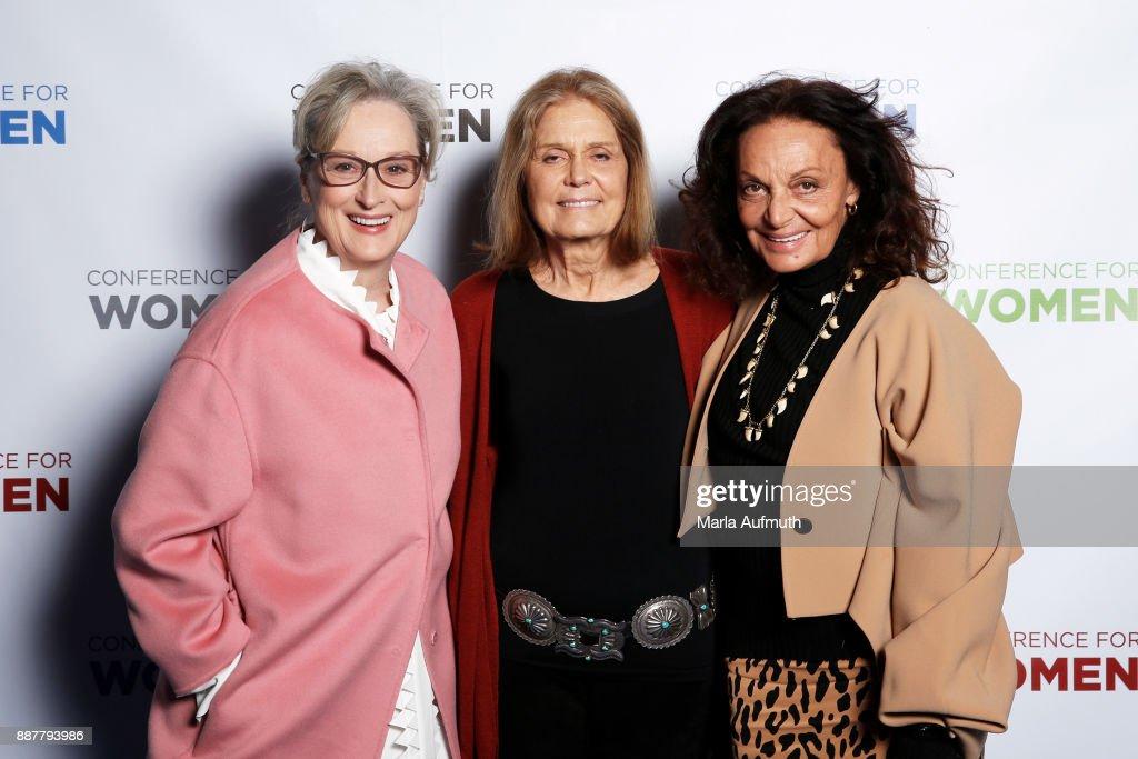 Actor Meryl Streep, activist Gloria Steinem and designer Diane von Furstenberg attend the Massachusetts Conference for Women 2017 at the Boston Convention Center on December 7, 2017 in Boston, Massachusetts.
